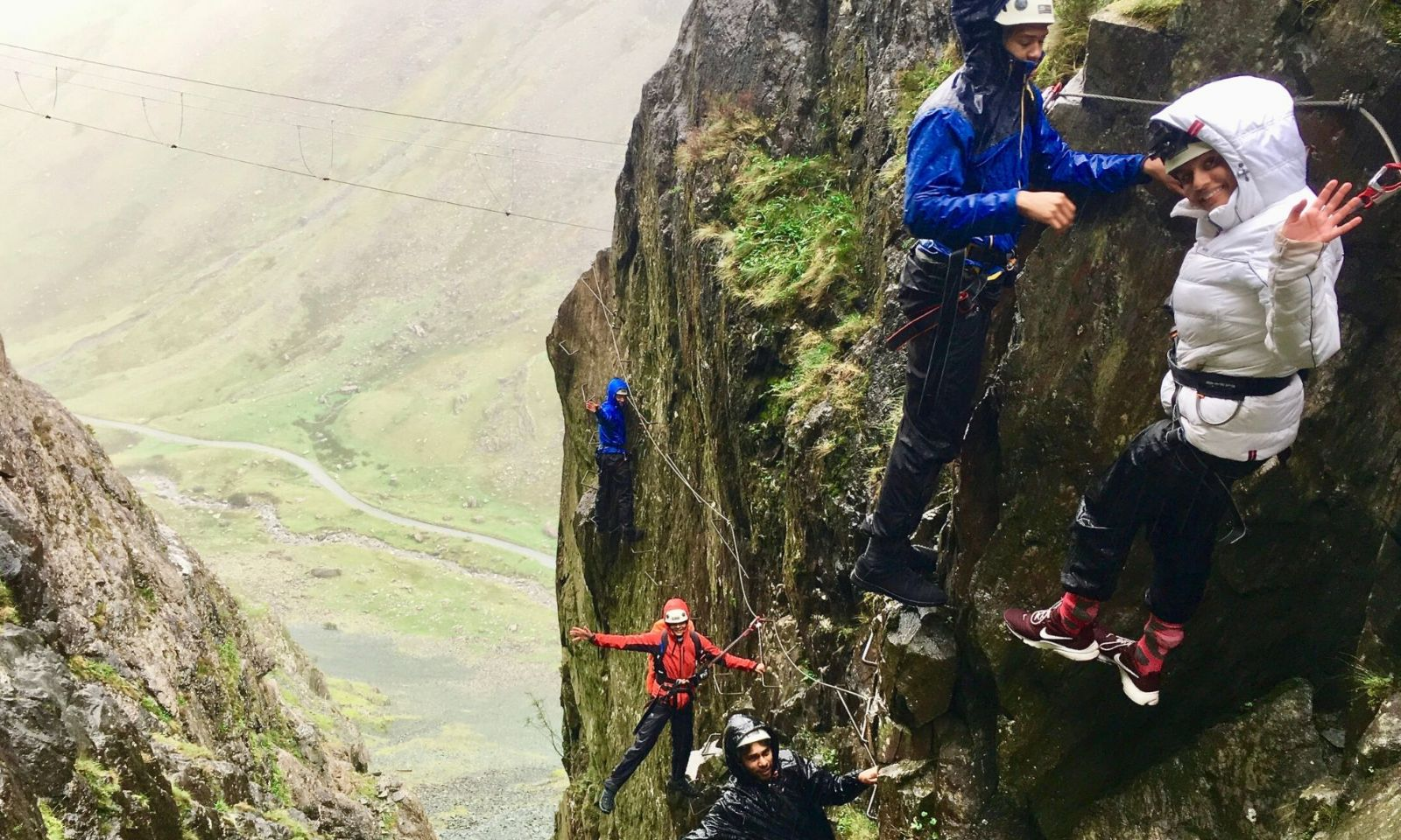 Group of young people enjoying the Via Ferrata at Honister Slate Mine.