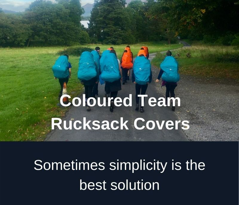 Coloured Team Rucksack Covers.