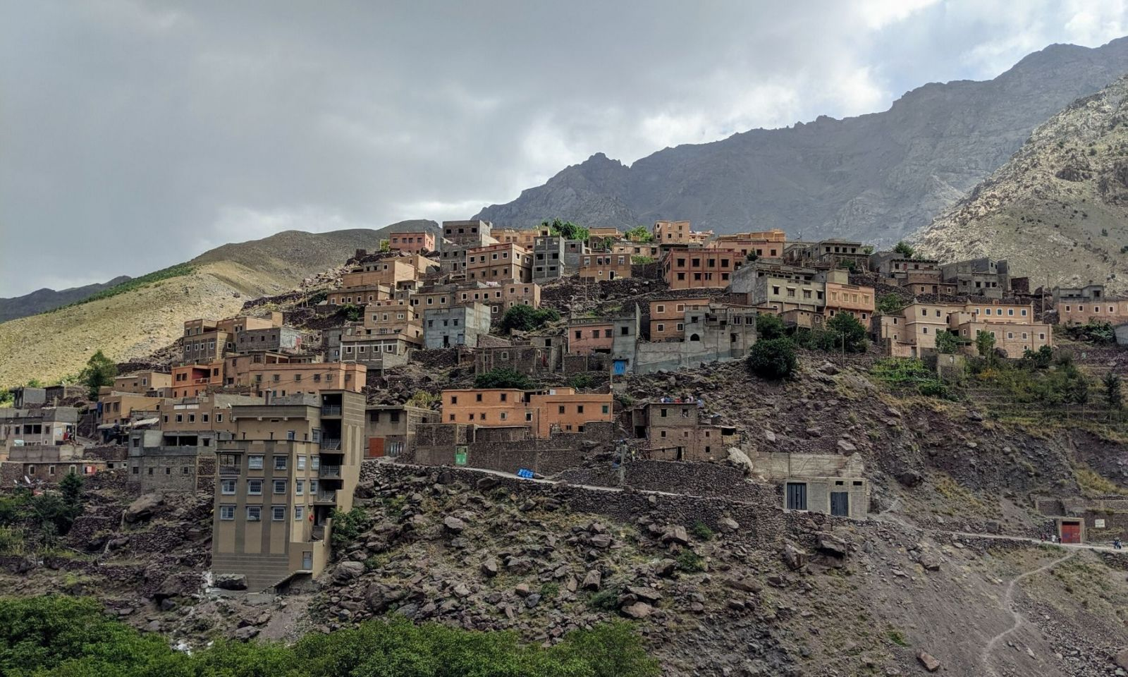Mountain side village in the High Atlas mountains in Morocco.