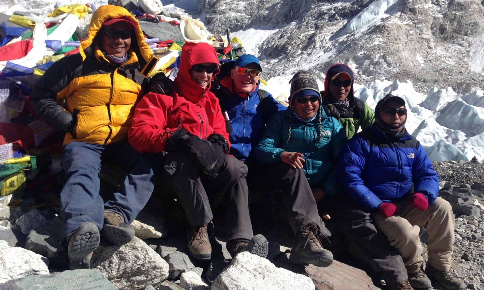 Group standing together at Everest Base Camp, Nepal.