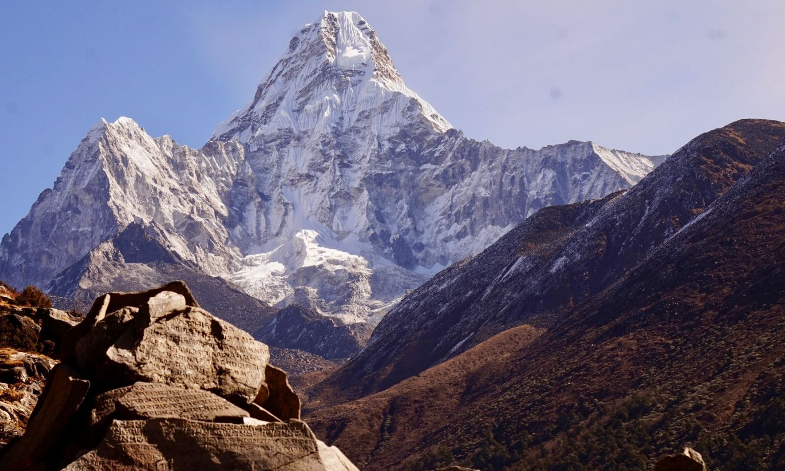 View of Ama Dablam from near Everest Base Camp, Nepal.