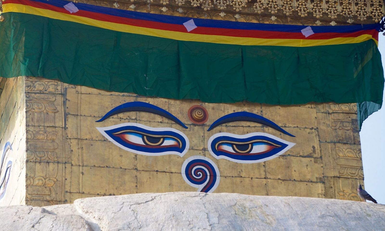 Nepalese all seeing eyes on temple.